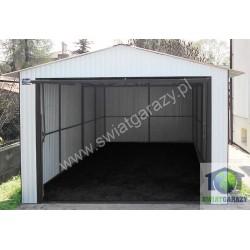 Garaż blaszany 3.5 x 5 RAL połysk, dwuspad z uchylną bramą