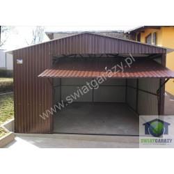 Garaż blaszany 4 x 6 RAL połysk dwuspad z uchylną bramą