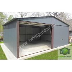 Garaż blaszany 6x5 RAL połysk z uchylnymi bramami