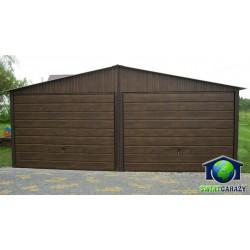 Garaże blaszane orzech 6x5 szeroki panel dwuspadowy
