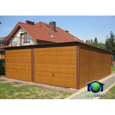 Garaż blaszany 6x5 drewnopodobny Orzech bramy uchylne poprzeczny panel
